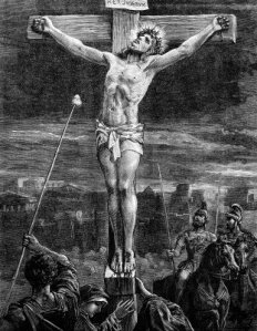 crucixion-an-engraved-vintage-illustration-image-of-the-crucifixion-of-jesus-christ-from-a-victorian-book-date