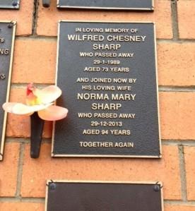 Crematorium plaque Nana & Grandad